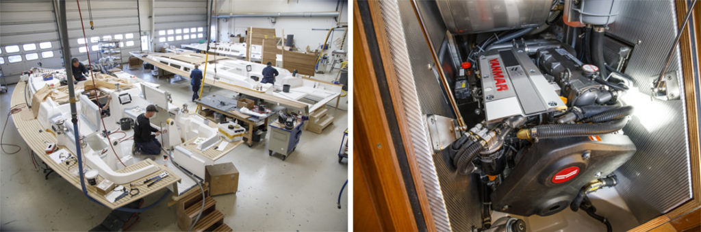 Left: Boat being fitted out to customers' needs in factory; Right: Yanmar common-rail marine diesel engine.