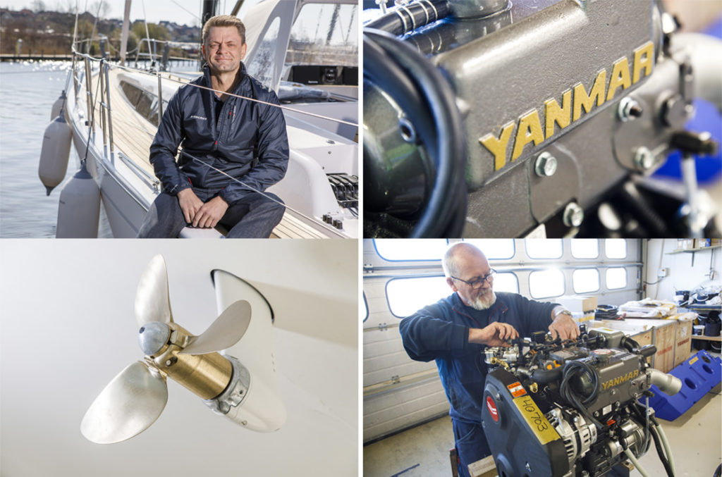 Clockwise from top-left: Kræn Brinck Nielsen, CEO of X-Yachts; Yanmar marine diesel engine; Flexfold foldable propeller.