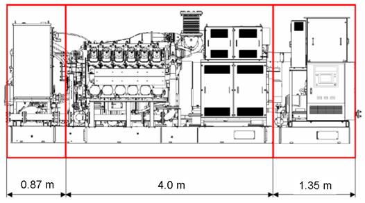 Three-part power unit