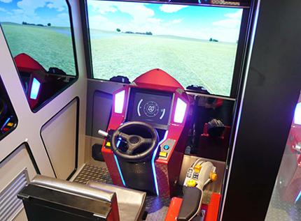 Simulators inside Yanmar's pavilion