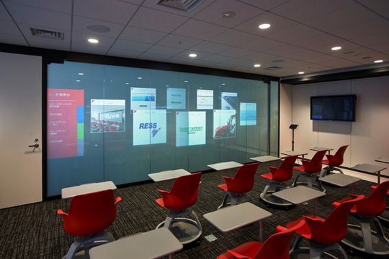 Presentation room for Yanmar's latest undertakings and services