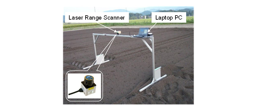 Fig. 3 Measurement instruments of evaluation for pile height of soil tilled by rotary tiller.