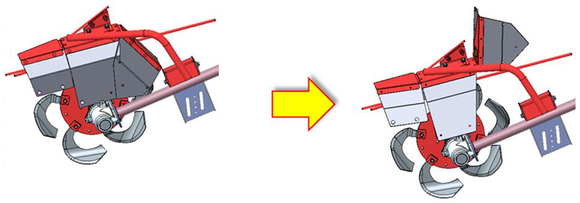 Fig. 7 Openable Rotor Cover (Left: Closed, Right: Open)