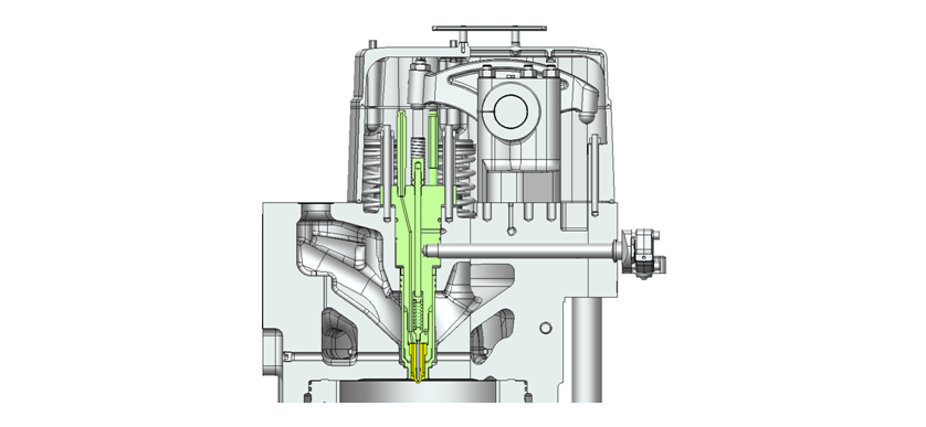 Cross-sectional View of Nozzle Assembled to Engine Cylinder Head