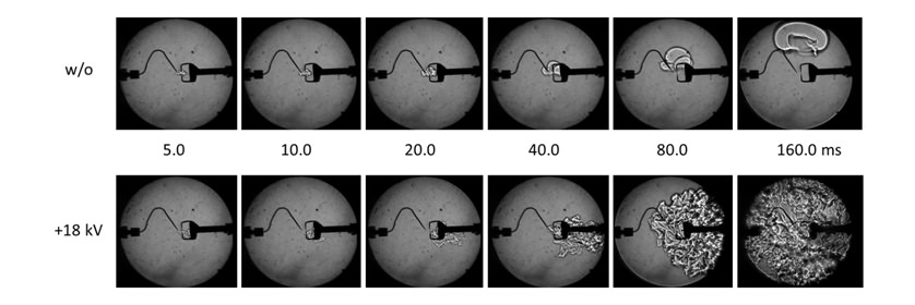 Schlieren images of flame propagation at ø=0.6
