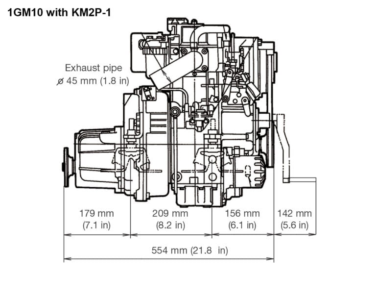 1GM10 with KM2P-1 side drawing