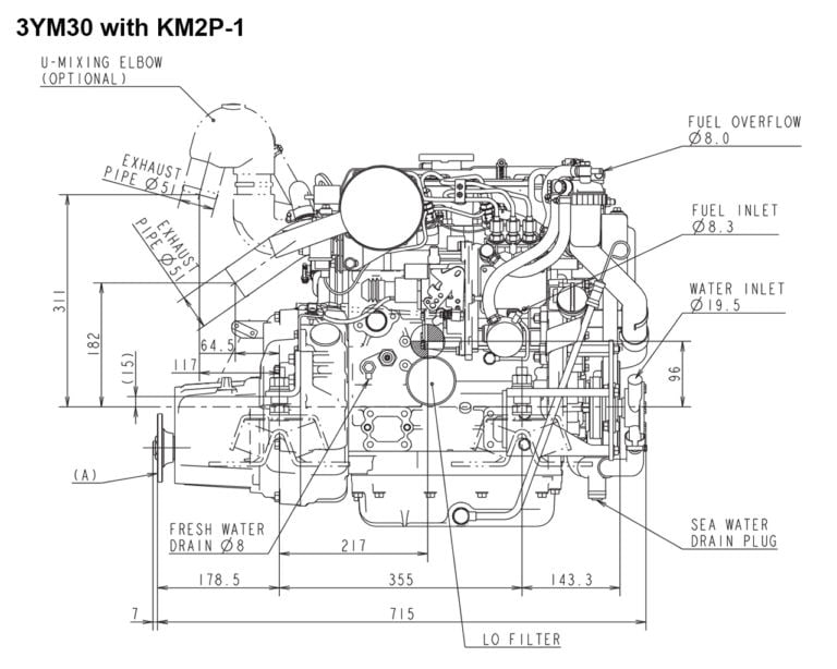 3YM30 with KM2P-1 side drawing