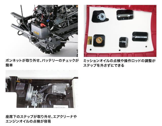 (図2)メンテナンスが簡単な乗用全自動野菜移植機PW20R