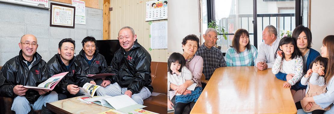 (左)農業仲間で組織した「アグリテック」。左から叶内栄一さん、奥山政憲さん、早坂守さん、佐藤勇さん。アグリテックは100haで米を栽培。収穫米の一部は80tの雪を詰めた「雪室」で保存している。(右)密苗は親子3代の複合経営にもメリット大。父親の常勇さんは山菜や果物、息子の勇士さんはトルコギキョウを栽培する。