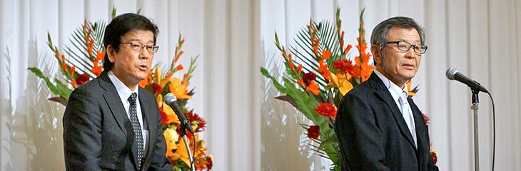 左:森本専務のご挨拶 右:金本会長の乾杯のご挨拶