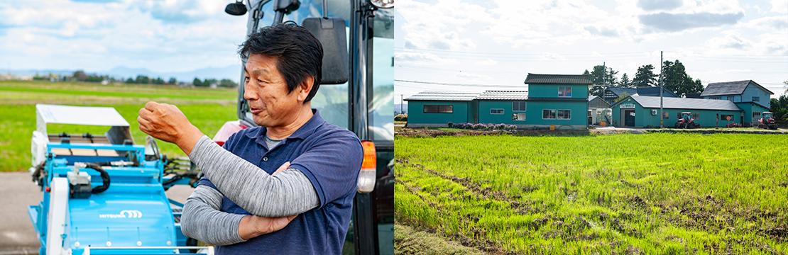 地域には青いナカムラ農産(株)の施設が多く点在している。今後は、 規模拡大にむけて地元の農地をICT技術で守っていくと語る中村氏。
