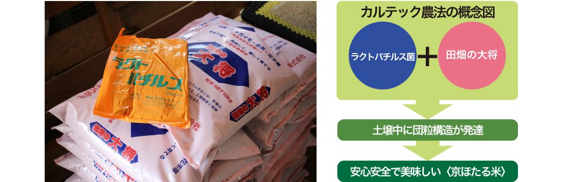 土にも人体にも必要なカルシウムを補給する<田畑の大将(赤)>。(ヤンマーグローバルCS株式会社)これらの資材を使った京ほたる米の<カルテック農法>概念図。