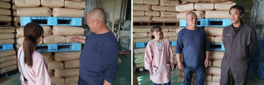 倉庫には検査で1等米のハンコが押された米袋が高く積み上げられ、「苦労が吹っ飛びます」と喜ばれる加茂さんご夫妻(写真左)。地元のヤンマー特販店・田川産業(株)の松本さん(右)と、1年を振り返りながら談笑される加茂さんご夫妻。(写真右)