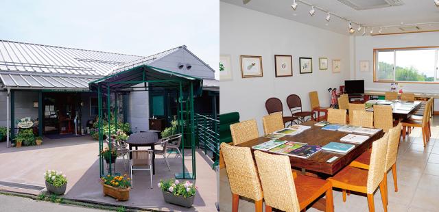 周辺の風景や醸造現場を見ながら憩えるカフェやショップも併設し、訪れる人が絶えない。
