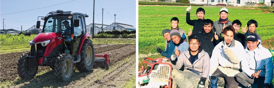 自動操舵システムにより、ハンドルを持たなくても真っ直ぐな作業を可能にする。(左写真) 鈴木氏と一緒に、減農薬・有機栽培に取り組む鈴生の従業員の皆さん。(右写真)